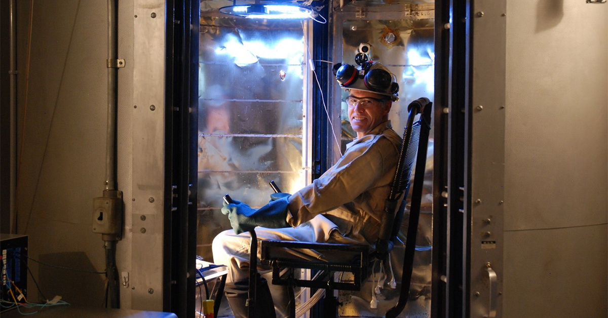 Man sitting in the world's only calorimeter