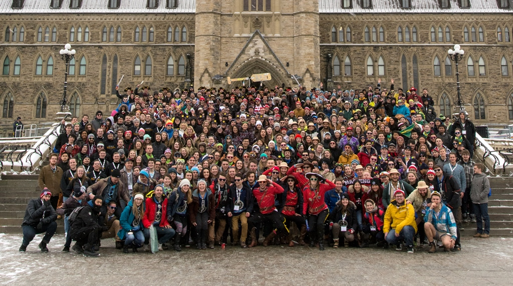 GNCTR participants posing in front of Centre Block on Parliament Hill.
