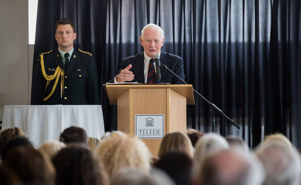 Governor General David Johnston at the podium during his speech at the University.