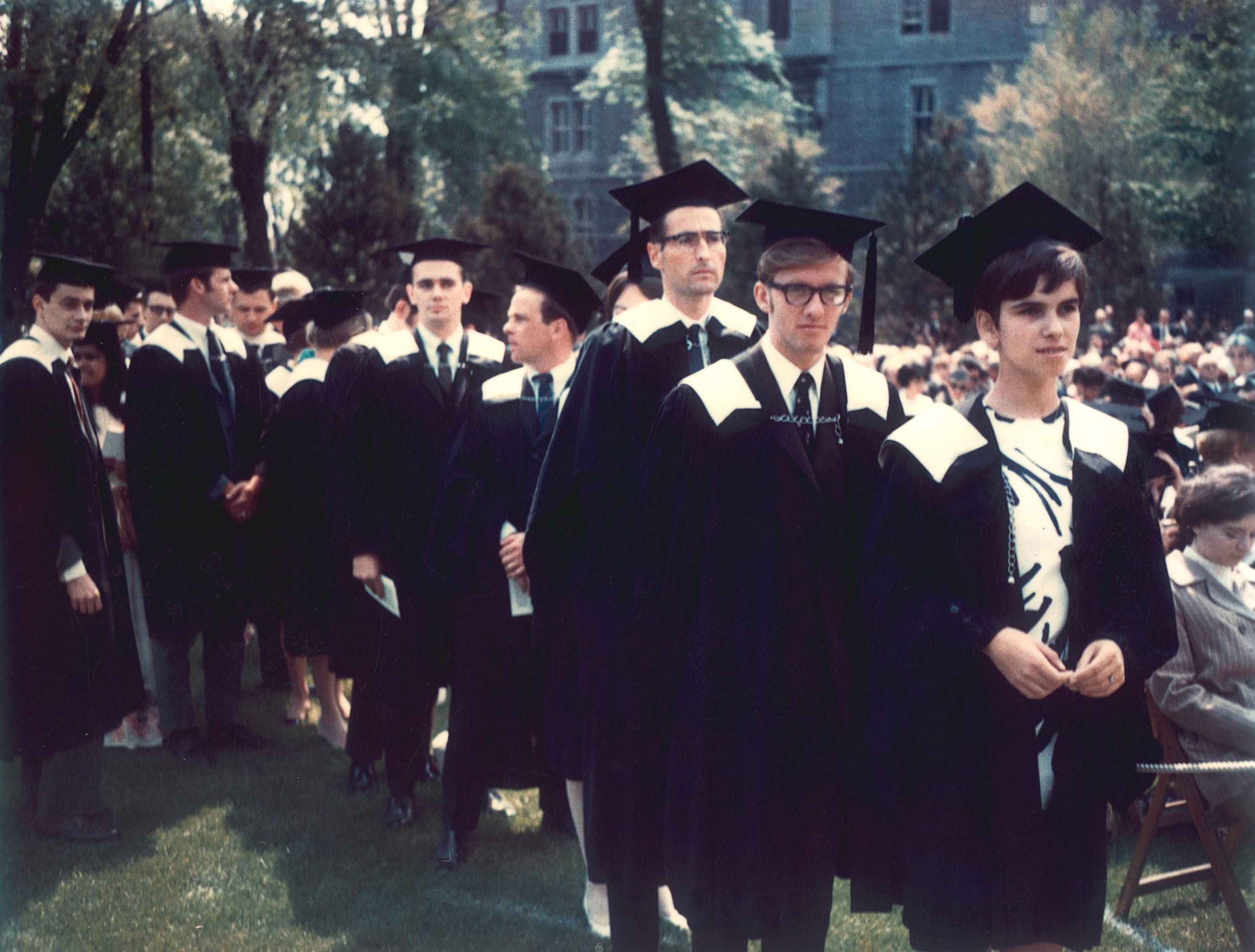 Allan Rock (second from right) at his 1968 graduation from the Faculty of Arts