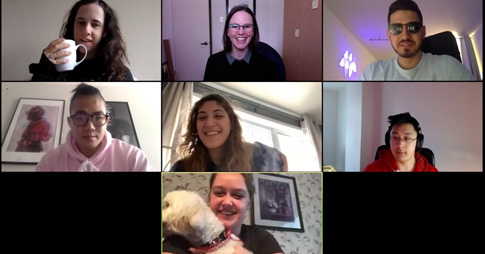 Screenshot of Professor Alison Flynn teleconferencing with her students.
