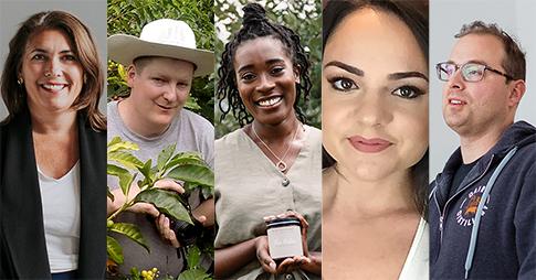 Collage des portraits des cinq entrepreneurs