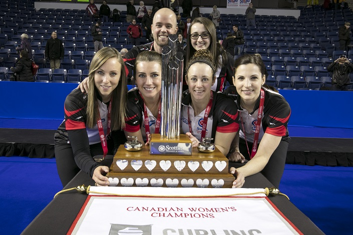 The five team members and coach Kingsbury smiling as they stand behind the Canadian Women's Championship trophy.