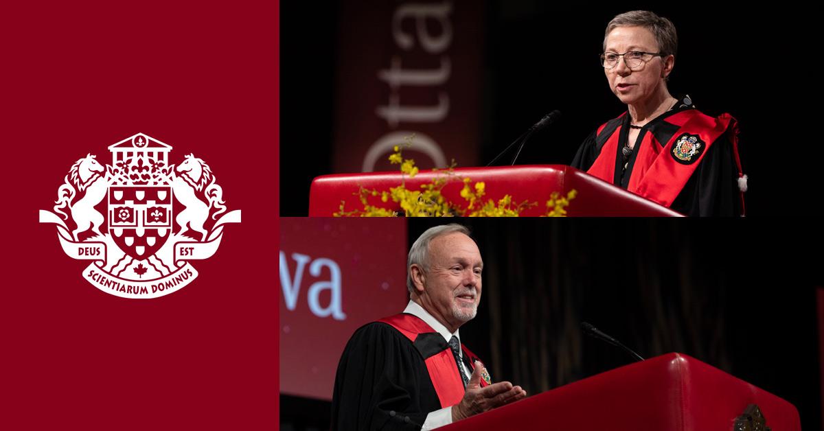 Montage photo des récipiendaires des doctorats honorifiques au podium
