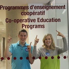 A young man and woman standing behind an office glass wall, pointing up to words that read: Co-operative Education Programs