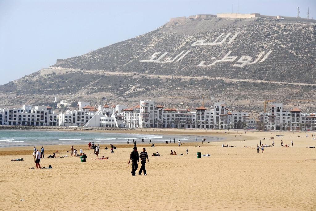 Houses built by a beach of Agadir, in Morocco