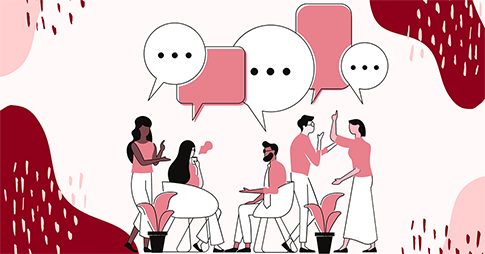 Illustration d'un groupe de personnes en train de parler
