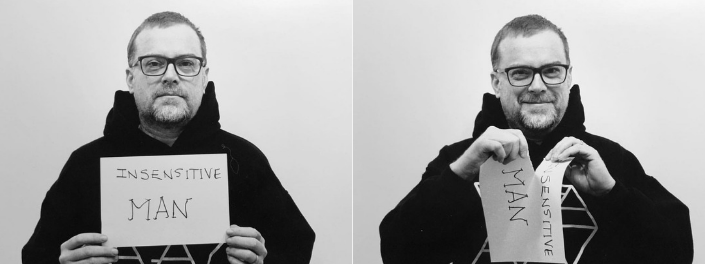 "Two side-by-side photos of a man holding a piece of paper that reads, ""Insensitive man"" and then smiling as he rips the paper in half."