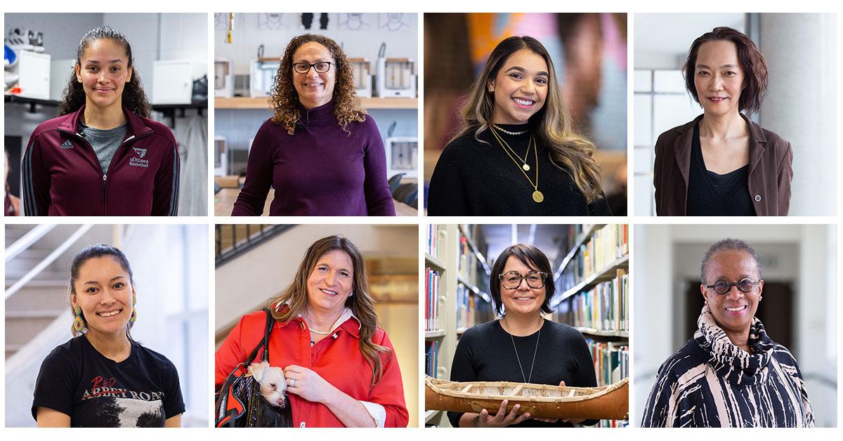 Collage de portraits de huit femmes d'origines diverses