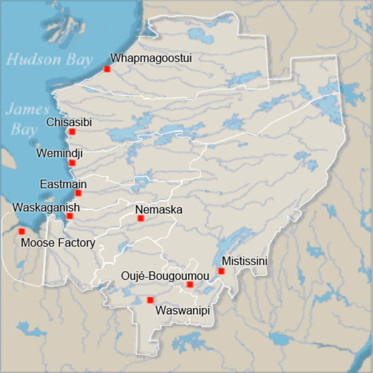 Map of northeastern Quebec