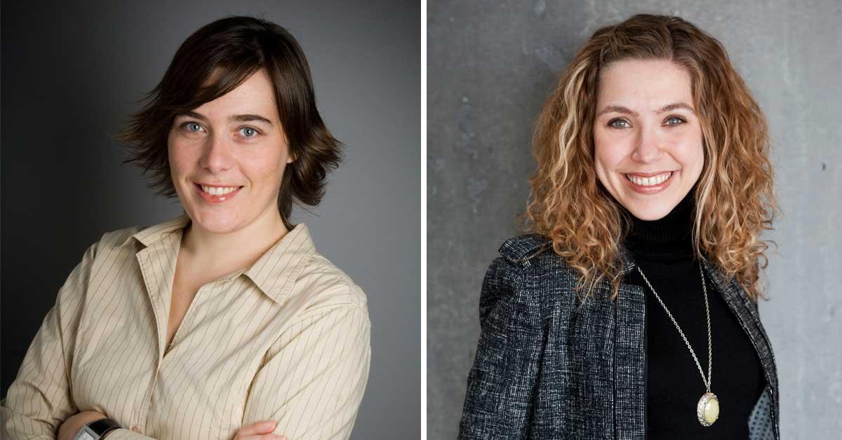 Portrait of professors Sandra Lehalle, left, and Jennifer Kilty, right.
