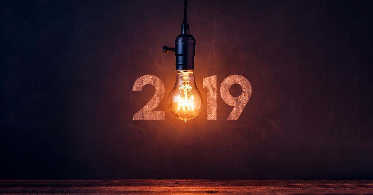Une ampoule à la place du zéro dans l'année « 2019 ».