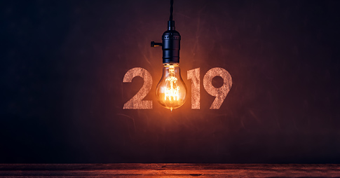 A lightbulb in place of the zero in the year 2019.