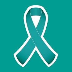 A teal ribbon