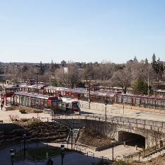 Photo aérienne de la station Campus et du tunnel piétonnier.