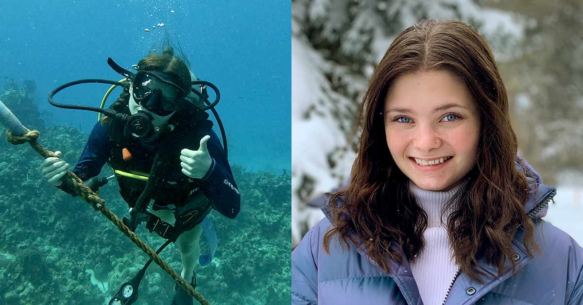 Le portrait de Madelin Rioux, à droite, et sa plongée sous-marine, à gauche