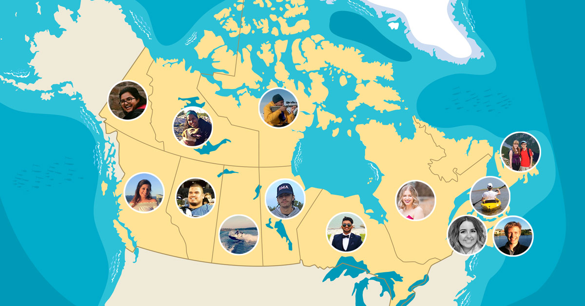 Une carte du Canada mettant en vedette des étudiants de l'Université d'Ottawa .
