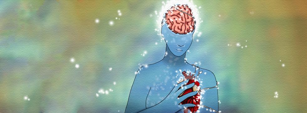 Image graphique d'une personne bleue tenant un coeur, entouré de lumières scintillantes. Le cerveau de l'individu est visible.