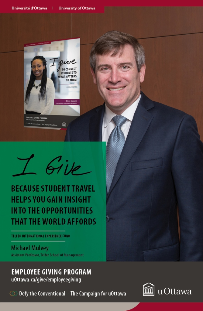 "Poster for the Employee Giving program featuring Michael Mulvey and his reason for giving, student travel's ""insight into the opportunities that the world affords."""