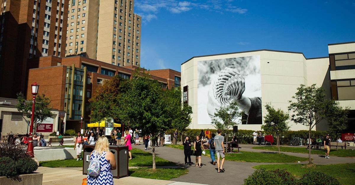 Murale gigantesque représentant des mains reproduites plusieurs fois et superposés.