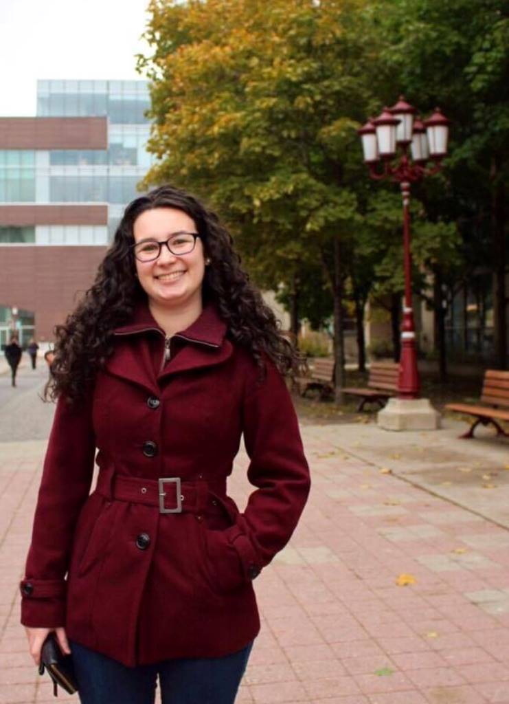 Myriam Faucher, a woman with long dark hair on the University of Ottawa campus