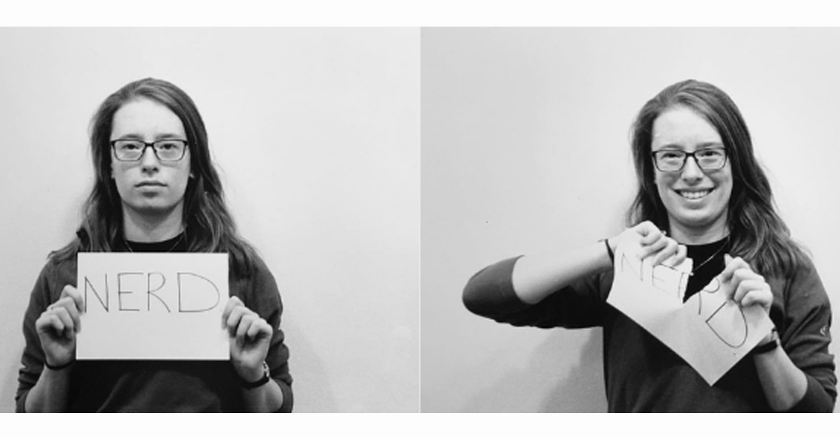 "Two side-by-side photos of a woman holding a piece of paper that reads, ""Nerd"" and then smiling as she rips the paper in half."