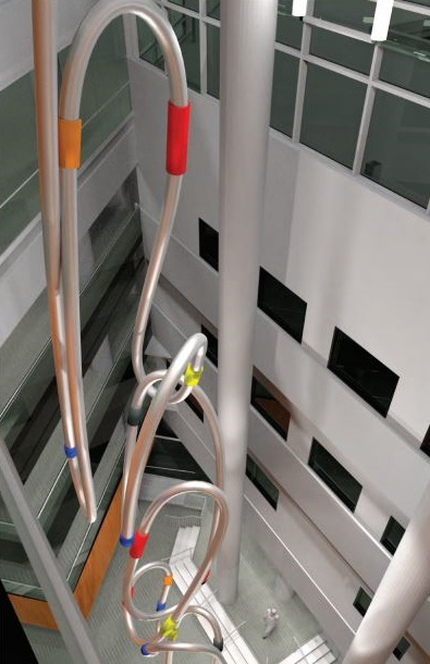 Artistic rendering of Connectivi-T. Top down view of metal tubes seen from the inside of the building.