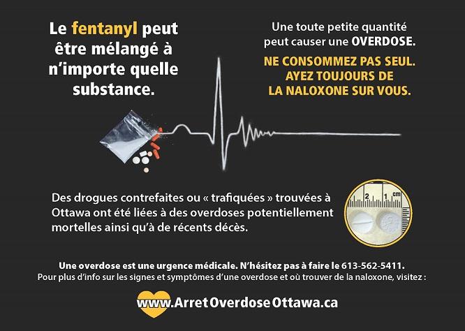 Affiche informative sur les dangers du fentanyl et de l'importance de la naloxone comme antidote.