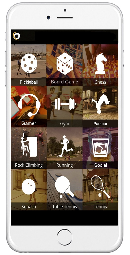 The OrbitPlay mobile phone screen with 12 squares showing a variety of activities to choose from, including jogging, board game, chess and rock climbing. Each square includes an icon depicting the activity.