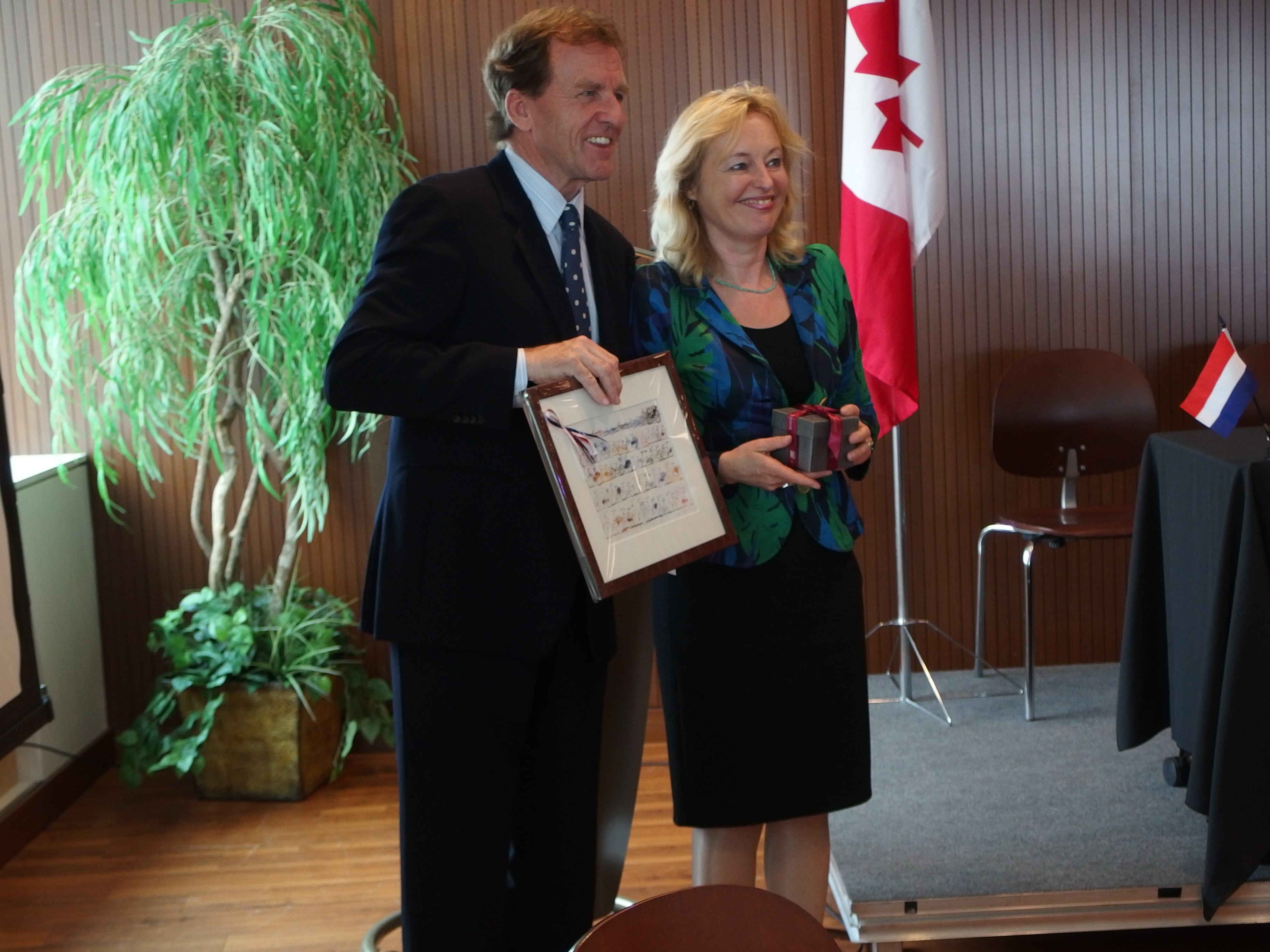 University of Ottawa president Allan Rock and the minister for education culture and science Jet Bussemaker