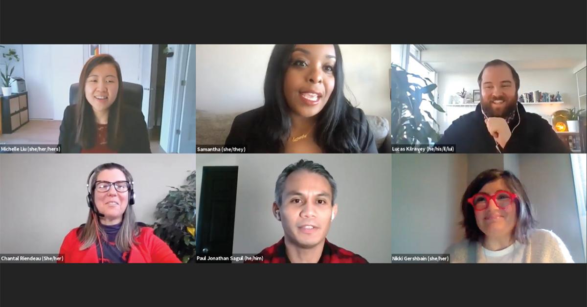 Capture d'écran des membres du panel sur Microsoft Teams