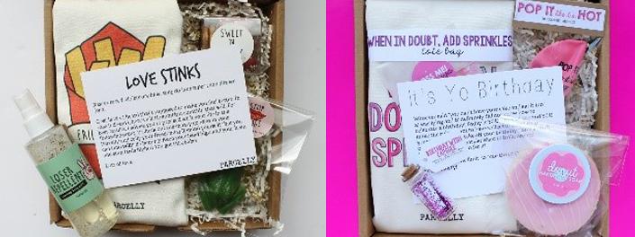Colis contenant divers articles et un message intitulé «Love Stinks!» «It's Yo Birthday!»