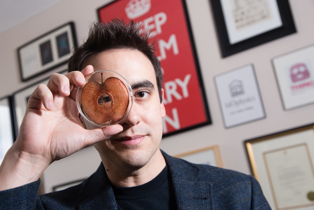 Professor Andrew Pelling peers through the hole of an apple slice in a petri dish.