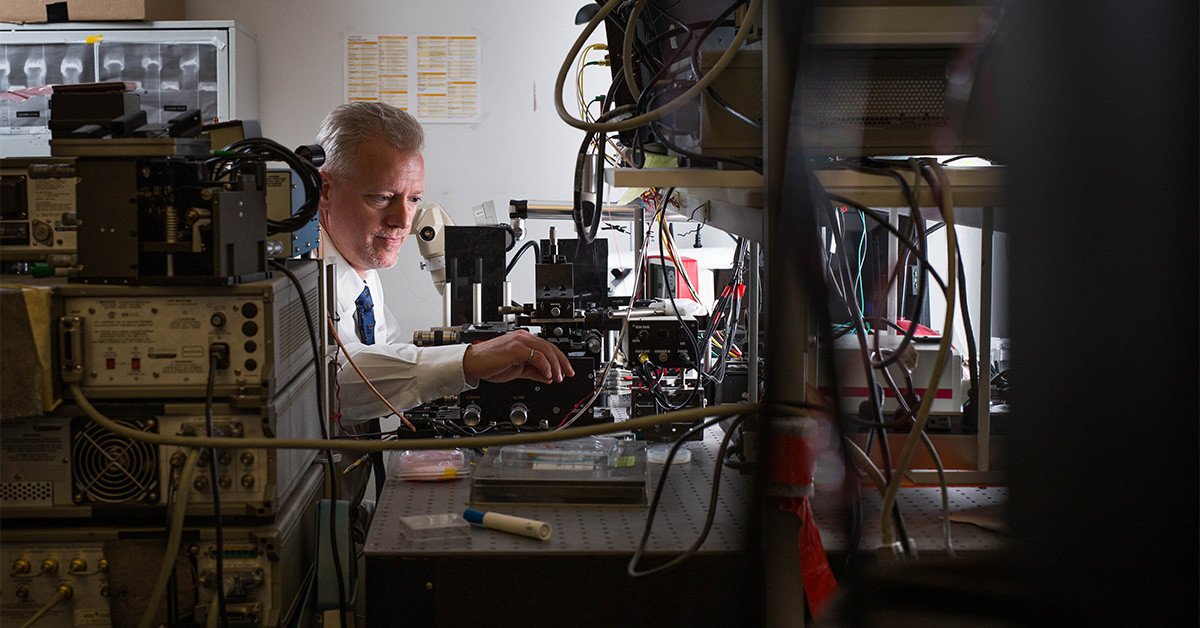 Pierre Berini in his photonics laboratory