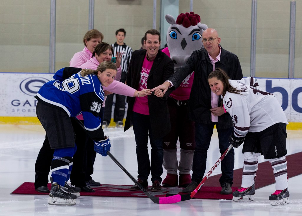 Professor Stephen Stuart at the ceremonial face-off with City of Ottawa councillor Mathieu Fleury and opposing players from the University of Montreal and uOttawa.