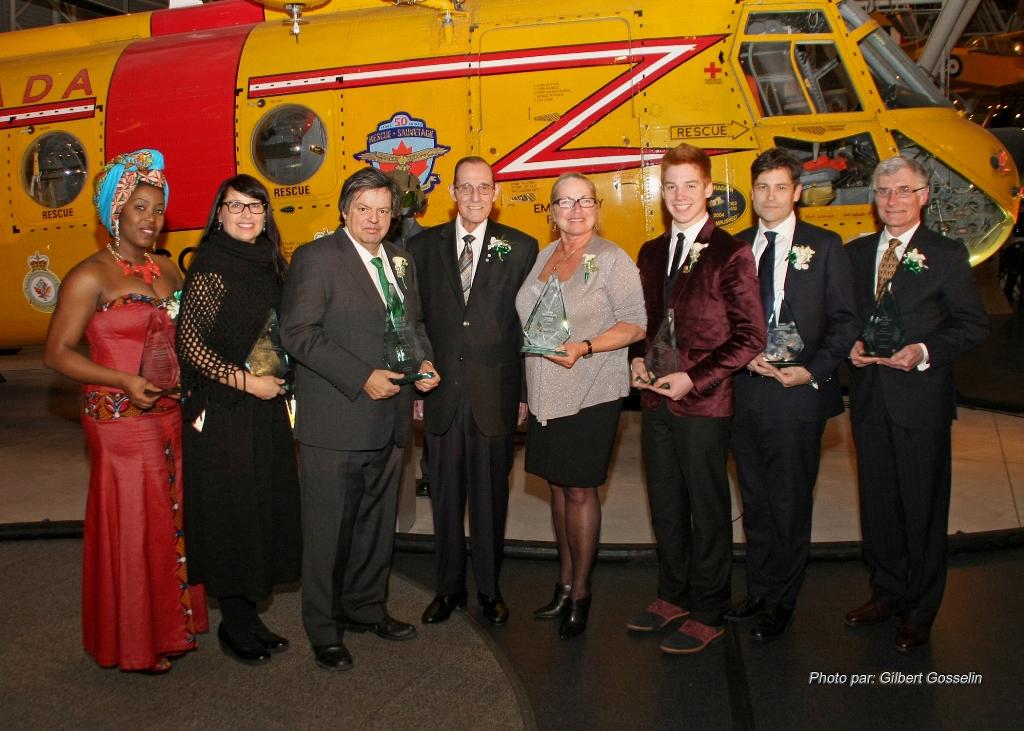 All seven winners of the Prix Grandmaitre awards, accompanied by Bernard Grandmaitre himself.
