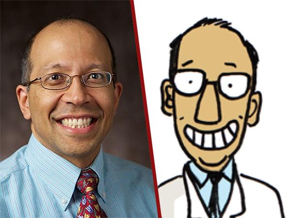 Dr Rajiv Samant and his cartoon self