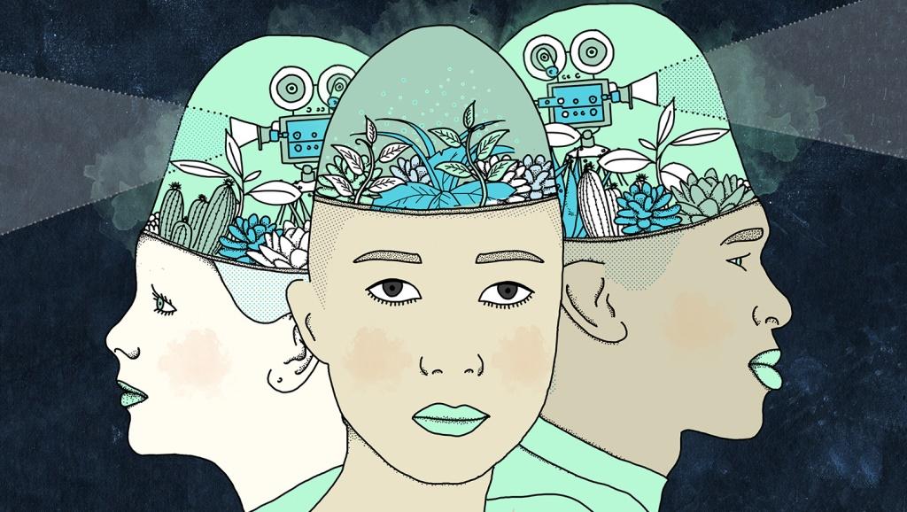 Illustration de trois têtes où fleurissent des jardins et trônent des projecteurs à l'ancienne.
