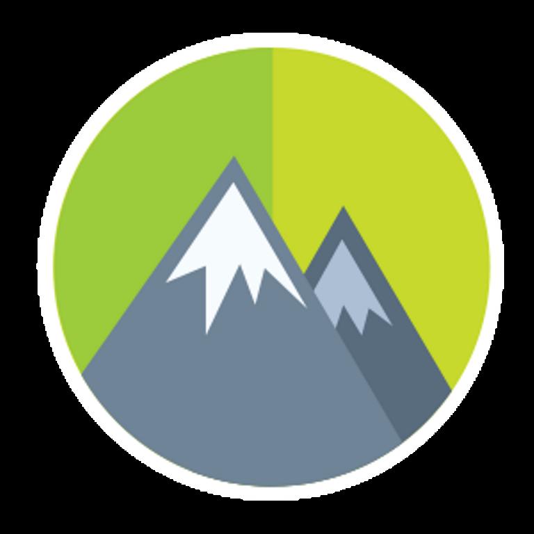 Illustration de deux montagnes au sommet enneigé