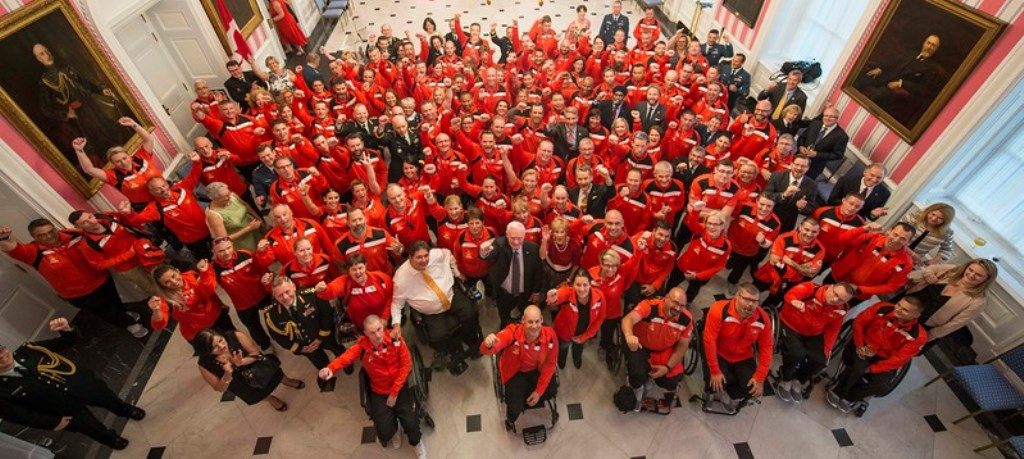 An aerial-styled photo of the large Canadian Invictus Games contingent at Rideau Hall.