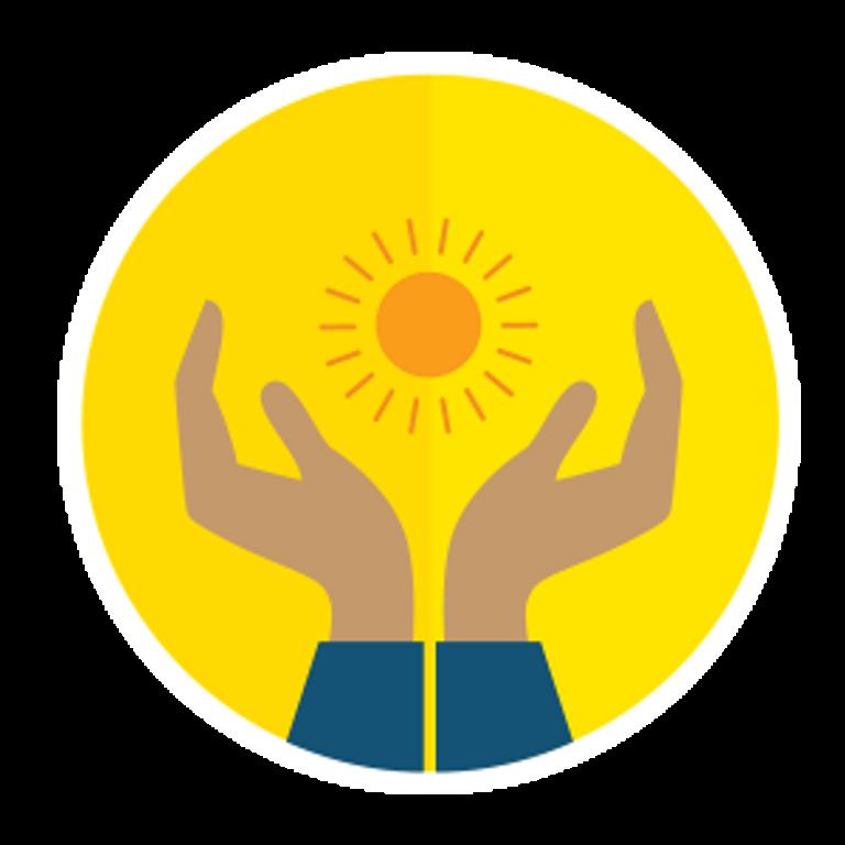 Illustration de deux mains qui entourent un soleil
