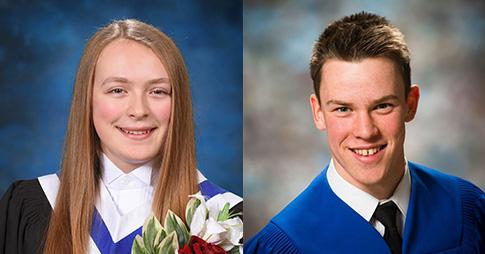 Les boursiers Schulich de l'Université d'Ottawa : Angéline Lafleur, à gauche, et Jeremy Leigh, à droite.