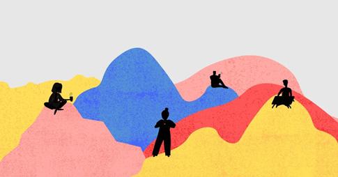 Illustration qui représente des montagnes multicolores et les silhouettes de quatre personnes dispersées.