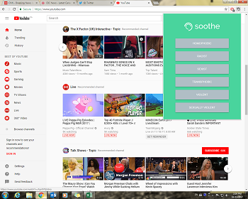 A screen shot showing YouTube and the Soothe drop-down list.