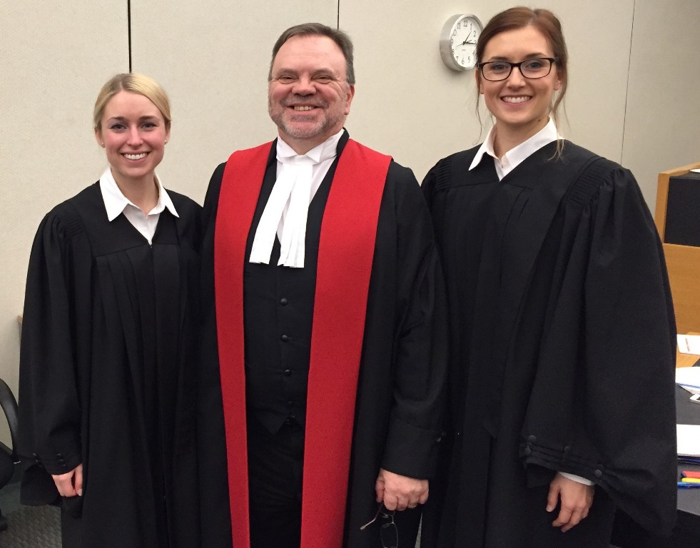 Litigators Cynthia Champagne and Valérie Deschênes with the Honourable Christian M. Tremblay, judge of the Court of Quebec