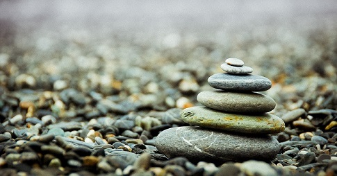 Pebbles piled on top of each other