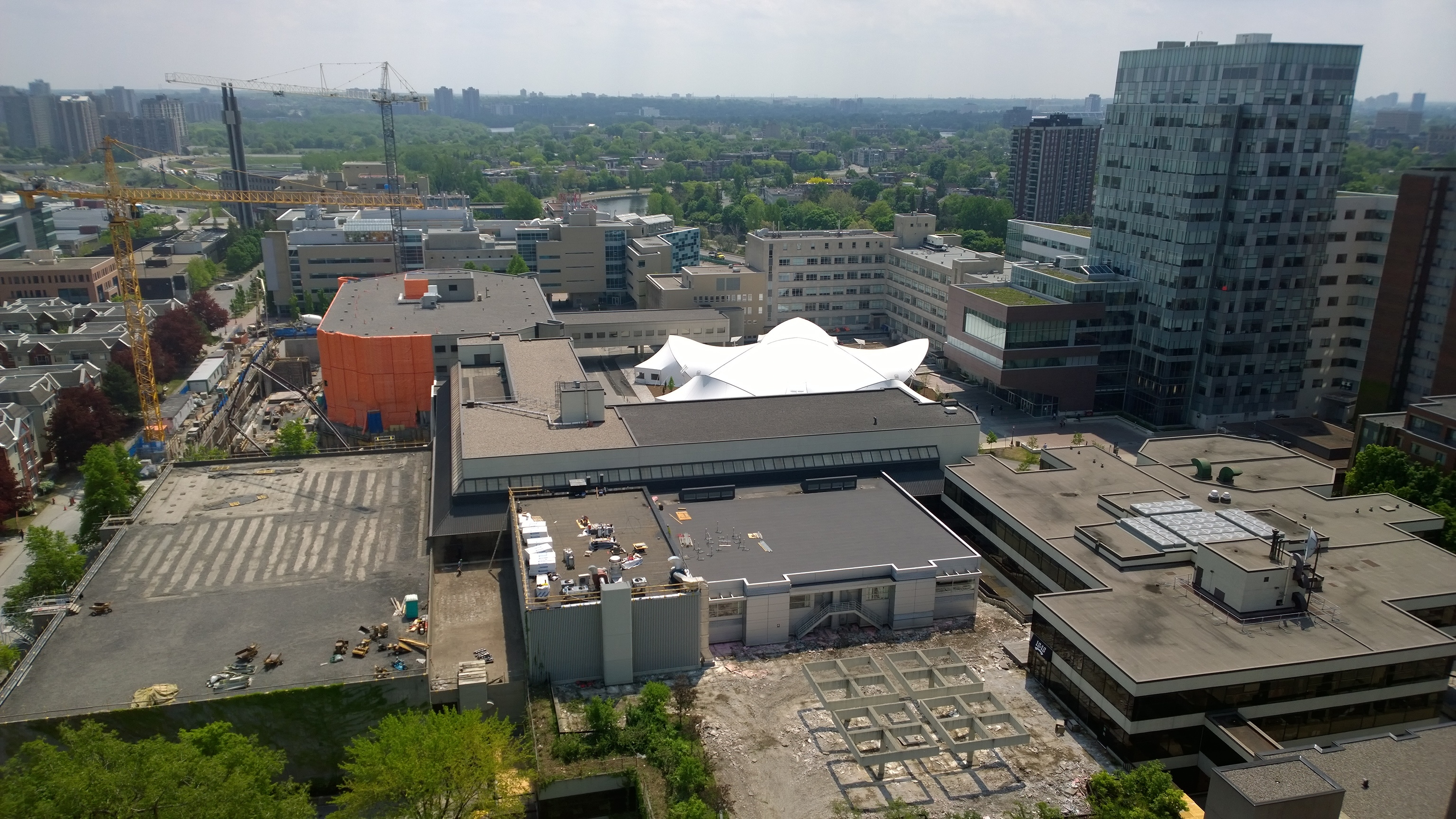 Aerial photo of campus construction with three cranes and trees and buildings in the background.