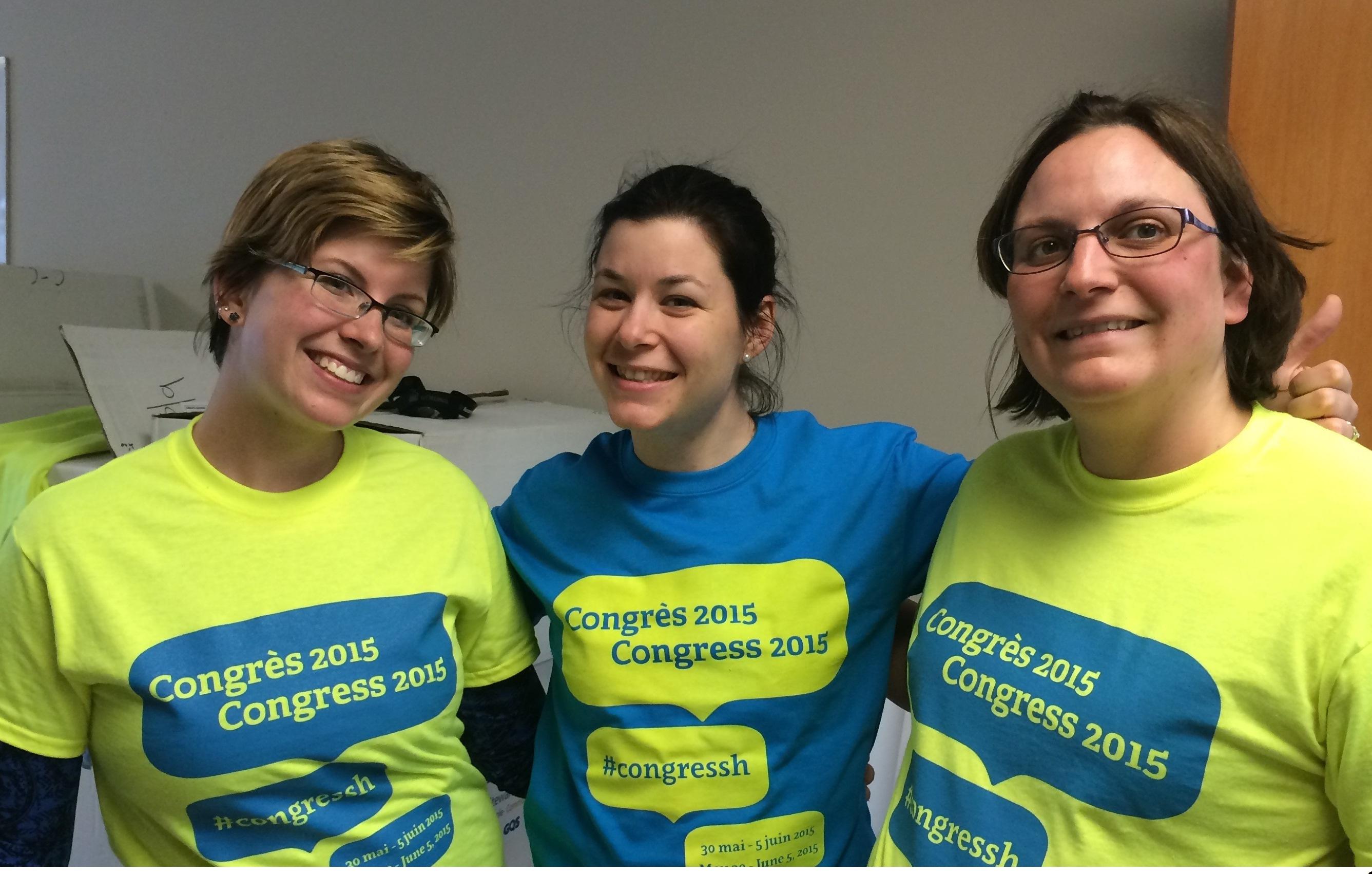 Kristelle Brovkovich, Rafaëlle Devine et Élise Detellier, membres du comité organisateur du Congrès 2015