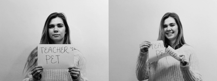 "Two side-by-side photos of a woman holding a piece of paper that reads, ""Teacher's Pet"", and then smiling as she rips the paper in half."