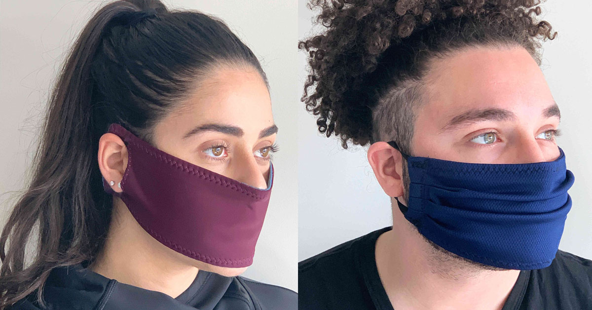 Thawrih founders Sarah Abood (left) and Sami Dabliz (right) sporting their new protective facemasks.